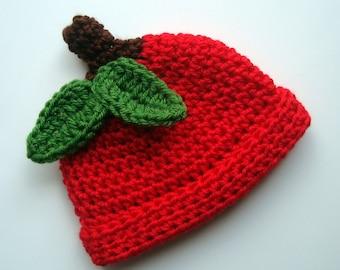 Baby Apple Hat, Newborn Crochet Apple Hat, Red Apple Beanie Crochet Hat, Autumn Hat, Halloween, Crochet Baby Hat, Newborn Hat, MADE TO ORDER