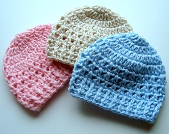 Crochet Baby Hat, Crochet Baby Beanie Hats, Set of Three in Your Color Choices