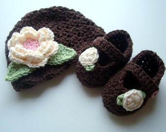 Baby Girl Hat and Booties Set, Crochet Baby Hat and Booties, Newborn Hat and Booties, Mary Jane Booties, Hat with Flower, Brown, Pink, Cream
