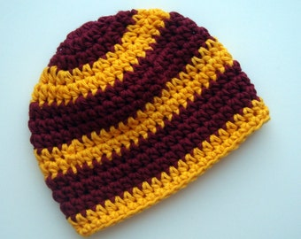 Crochet Baby Hat, Baby Girl Hat, Boys Hat, Striped Crochet Baby  Hat, 0-3 months, MADE TO ORDER, Maroon and Gold,  Minnesota Gophers