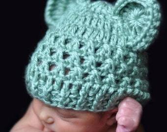 Baby Hat, Baby Boy Hat, Baby Girl Hat, Crochet Baby Hat with Ears, Sage Green, Animal Hat, Teddy Bear Hat, Newborn Baby Hat, MADE TO ORDER
