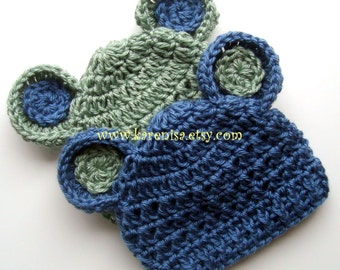 Crochet Baby Hat, Baby Boy Hat, Baby Girl Hat, Baby Hat with Ears, Set of Two, Animal Hat, Sage Green and Country Blue, MADE TO ORDER
