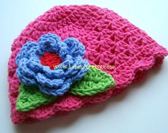 Baby Girl Crochet hat, Toddler Girl Hat, Cotton Summer Hat, Baby Girl Hat, Toddler Crochet Hat, Girls, Hot Pink, Periwinkle, MADE TO ORDER