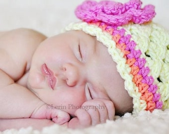 Crochet Baby Hat, Baby Girl Hat, Summer Hat, Cotton Hat, Beanie Hat, Girls Cotton Crochet Hat, light yellow, pink, Coral, MADE TO ORDER