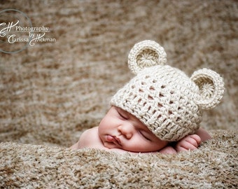 Crochet Animal Hat, Crochet baby hat with Ears, Baby Girl, Baby Boy, Crochet Hat, Newborn Crochet Hat. Oatmeal, 0-3 Months, MADE TO ORDER