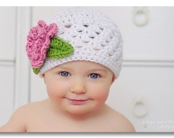 Girls Crochet Hat, Crochet Girls Hat, Infant Hat, Baby Girl Crochet Beanie Hat with Flower, Crochet Baby Hat, Toddler, MADE TO ORDER