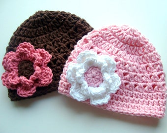 Baby Girl Hat, Crochet Baby Summer hats, Girls Cotton Crochet Flower Beanie Hats, Made in your size and color choices for newborns up to 5T