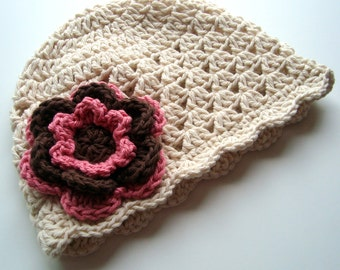 Crochet Baby Hat, Baby Girl Hat, Girls Crochet Hat, Crochet Scalloped Baby Beanie Hat, Ecru, Chocolate Brown and Rose Pink, MADE TO ORDER