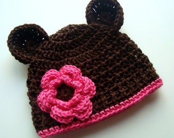 Crochet Baby Hat, Crochet Beanie Hat with Ears and Flower, Chocolate Brown and Hot Pink, Baby Girl Hat, Newborn Girl Hat, MADE TO ORDER