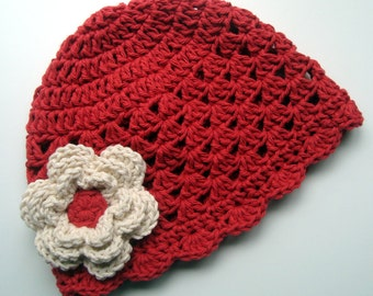 Girls Crochet Scalloped Baby Beanie Hat-Country Red and Ecru-great all year round, available in many colors-MADE TO ORDER