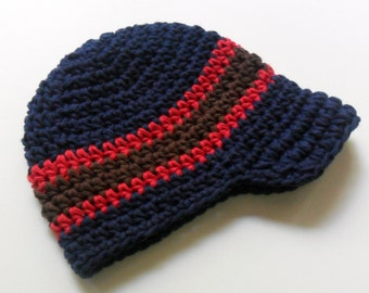 Boys Crochet Hat, Baby Boy Hat, Boys Crochet Visor Beanie, Boys Visor Hat, Toddler Crochet Hat, Boys Winter Hat, Boys Hat, MADE TO ORDER