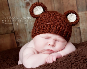 Crochet Baby Hat with Ears, Crochet Baby Hat, Animal Hat, Baby Girl Hat, Baby Boy Hat, Newborn Crochet Hat, Infant Hat, Brown, MADE TO ORDER