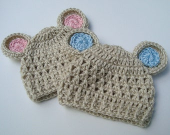 Crochet baby Hat with Ears, Newborn Baby Hats, Animal Hat with Ears, Set of Two, Oatmeal and Pink, Oatmeal and Blue, MADE TO ORDER