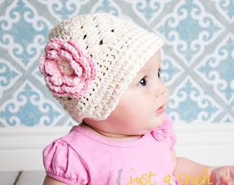 Baby Hat, Crochet Baby Hat,  Girls Crochet Visor Beanie, Girls Crochet Hat, Summer Hat, Winter Hat, Girl Hat, Cream, Pink, MADE TO ORDER