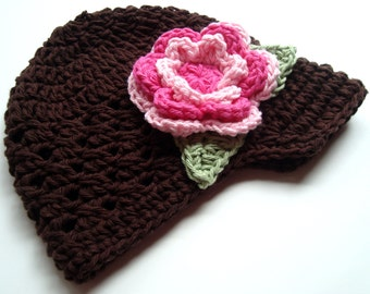 Crochet Baby Hat, Infant, Toddler or Girls Cotton Crochet Visor Beanie,  Baby Girl Hat, Toddler Hat, Brown, Pink, Hot Pink, MADE TO ORDER