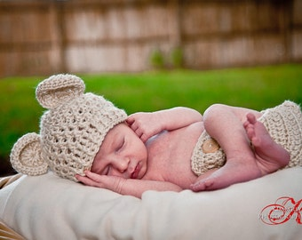 Newborn Baby Crochet Beanie Ear Hat and Diaper Cover Set-Great for professional photography-MADE TO ORDER