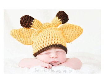 Baby Giraffe Hat,Crochet Giraffe Hat,  Baby Girl Hat, Baby Boy Hat, Infant Giraffe Hat, Newborn Hat, MADE TO ORDER 0-3 months, Newborn