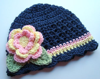 Crochet Baby Hat, Navy Blue, Crochet Beanie Hat with Flower, Girls Crochet Hat, Beanie Hat, Hat with Flower, Pink, Toddler, MADE TO ORDER