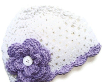 Crochet Baby Hat, Girls Crochet Hat, Toddler Hat, Crochet Hat, Baby Girl, Winter, Summer Hat, White, Lavender, Flower Hat, MADE TO ORDER