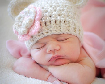Baby Girl Hat, Baby Girl Crochet Hat. Crochet Baby Beanie Hat with Ears, Oatmeal and Light Pink, 0-3, 3-6 or 6-12 months MADE TO ORDER
