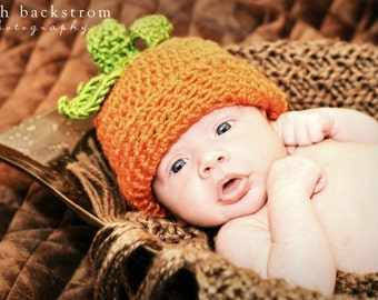 Baby Hat, Infant Pumpkin Hat, Crochet Pumpkin Hat, Baby Pumpkin Hat, Halloween, Baby Girl, Baby Boy, Newborn Pumpkin Hat, MADE TO ORDER
