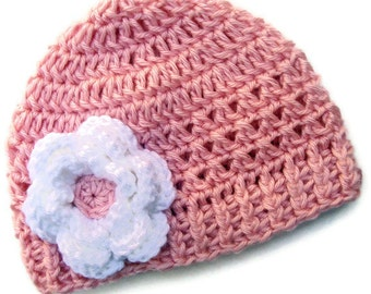 Crochet Baby Hat, Girls Crochet Hat, Girls Pink Hat, Toddler Hat,  Crochet Hat with Flower,  pink  with white flower, MADE TO ORDER