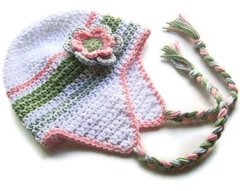 Girls Crochet Earflap Hat with Ties, Crochet Baby Hat, Newborn Crochet Hat, Toddler Crochet Hat, Custom Made in Your Color,  MADE TO ORDER