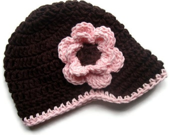 Crochet Baby Girl Hat, Crochet Toddler Hat, Crochet Visor beanie Hat, Brown and Pink, Newborn Crochet Hat, Toddler Hat, MADE TO ORDER