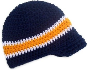 Baby Boy Hat, Toddler Crochet Hat, Boys Visor Beanie, Boys Crochet Hat, Boys Winter Hat, Summer Hat, Hat with Brim, MADE TO ORDER