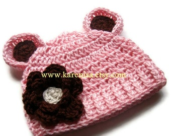 Baby Girl Hat, Baby Girl Crochet Beanie Hat with Ears and Flower, Crochet Winter Hat, Chocolate Brown, Pink, 0-3 months, MADE TO ORDER