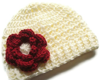 Crochet Baby Hat,  Girl Hat, Baby Girl Hat, Crochet Hat with Flower, Girls Beanie Hat With Flower, Cream Ivory and Autumn Red, MADE TO ORDER
