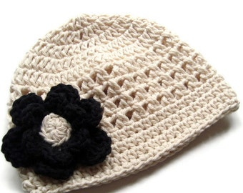 Baby Girl Hat, Toddler Crochet Hat, Baby Crochet Hat, Infant Hat, Girls Beanie Hat, Ecru and Black, MADE TO ORDER