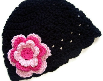 Crochet Beanie Hat, Crochet Baby Girl Hat, Winter Hat, Baby Girl Hat, Toddler Crochet Hat, Black, Hot Pink, Pastel Pink,  MADE TO ORDER