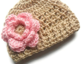 Baby Girl Hat, Crochet Baby Hat, Newborn Hat, Infant Hat, Crochet Baby Beanie Hat,  Winter Baby Beanie Hat With Flower  MADE TO ORDER