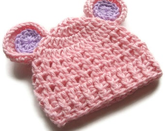Crochet Baby Hat, Baby Girl Hat, Toddler Crochet Hat, Baby Hat with Ears, pink Baby Hat, Lavender, Knit Baby Hat, Baby Hat, MADE TO ORDER