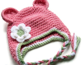 SPECIAL PRICE on this hat only: Baby Girl Hat, Crochet Baby Girl Hat, Girls Crochet Ear Flap Hat, ready to ship in 3-6 months