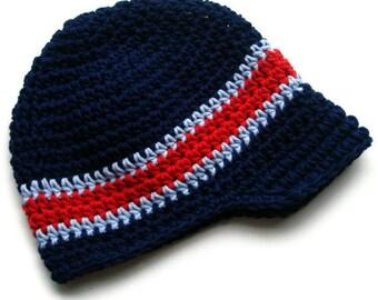 Boys Winter Hat, Boys Crochet Hat, Boys Visor Beanie Hat, Crochet Hat, Baby Boy Hat, Boys Hat with Brim, Boys Hat, MADE TO ORDER, Custom