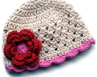 Baby Girl Crochet Hat, Girls Summer Hat, Crochet Baby Hat, Valentines Day Hat,  Toddler Crochet Hat, Baby Girl, Crochet Hat, MADE TO ORDER