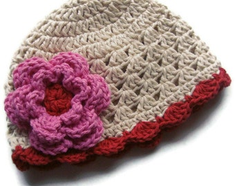 Crochet Baby Beanie Hat, Baby Girl Cotton Winter Beanie Hat Crochet, Baby Girl Hat, Toddler Hat, Baby Hat, Ecru Red and Pink MADE TO ORDER