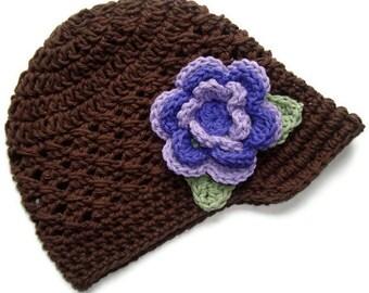 Girls Crochet Hat, Baby Girl Visor Hat, Visor Beanie Hat, Brown and Purple,  Baby Girl Hat, Toddler Crochet Hat, Baby Hat, MADE TO ORDER