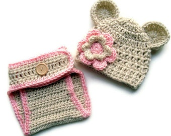 Baby Girl Hat and Diaper Cover Set, Crochet Baby Hat and Diaper Cover, Baby Hat with Ears, Diaper Cover,  MADE TO ORDER You choose colors
