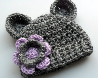 Toddler Crochet Hat,  Crochet Beanie Hat with Ears, Girls Crochet Hat, Heather Gray and Lavender, 12 to 24 Months, 2-4T or 5T, Made to Order