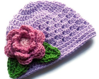 Crochet baby Hat, Baby Girl Beanie Hat with Flower and Leaves, Baby Girl Hat, Toddler Crochet Hat, Lavender, Rose Pink, Green, MADE TO ORDER