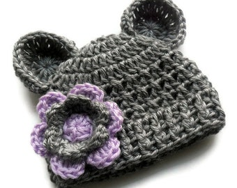 Infant Crochet Hat, Baby Girl Crochet Hat with Ears, Heather Gray and Lavender,  Baby Girl Hat, Crochet, 3-6 or 6-12 months, MADE TO ORDER