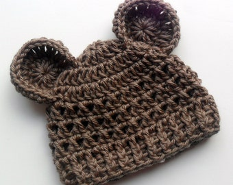 Crochet Baby Hat,  Animal Hat with Ears, Teddy Bear Hat, Crochet Hat, Crochet Boys Hat,  Crochet Girls Hat, Taupe, 0-3 months, MADE TO ORDER
