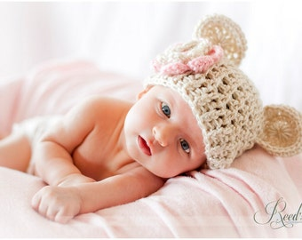 Baby Girl Hat, Crochet Baby Hat, Crochet Baby Beanie Hat with Ears, Newborn Hat, Beige and Light Pink, 0-3, 3-6 or 6-12 months MADE TO ORDER