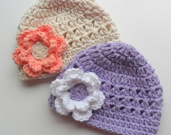 Baby girl Hat, Toddler Hat. Crochet Baby Hats, Set Of Two, Girls Crochet Beanie Hats, Summer Hat, MADE TO ORDER in size and color choice