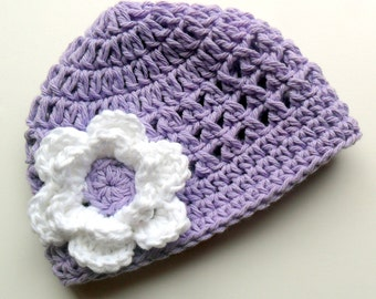 Crochet baby Hat, Baby Girl Hat, Toddler Crochet Hat, Infant Crochet Hat, Girls Cotton Beanie Hat, Lavender and White, MADE TO ORDER