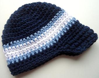 Crochet Boys Hat, Boys Hat, Baby Boy Visor Hat, Toddler Boys Hat, Boys Beanie Cap with Visor, Boys Hat with Brim, MADE TO ORDER