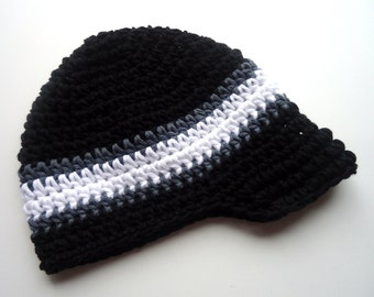 Boys Crochet Hat, Boys Visor Hat, Crochet Boys Hat, Boys Visor Beanie, Hat with Brim, Baby Boy Hat, Black, Charcoal, White, MADE TO ORDER